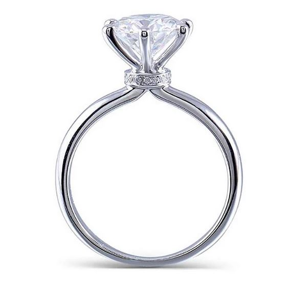 doveggs moissanite ring 14k white gold 2ct center 8mm moissanite engagement ring with accents for women - DovEggs-Seattle