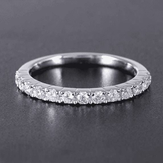 doveggs moissanite wedding band platinum plated silver 0.4 carat center 2mm h-i color moissanite half eternity band guard ring for girls - DovEggs-Seattle