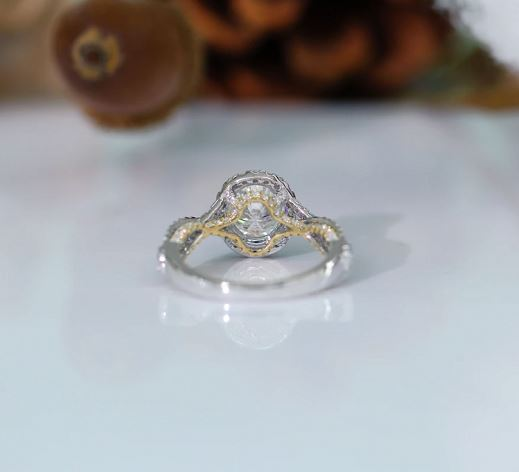 doveggs oval moissanite halo engagement ring with cris cross band in white/yellow gold DovEggs-Seattle
