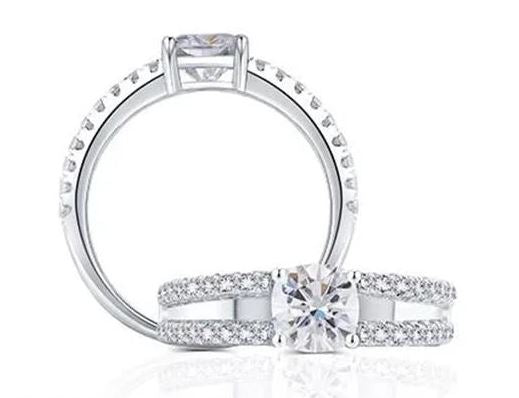doveggs platinum plated silver 1 carat g-h-i color cushion moissanite ring DovEggs-Seattle