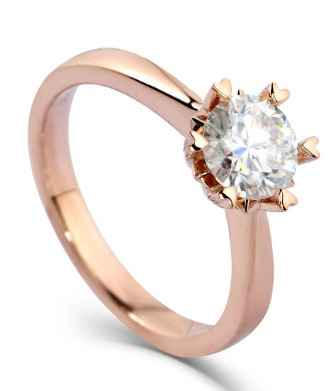 doveggs round moissanite engagement ring in rose gold DovEggs-Seattle