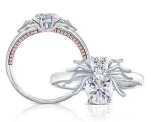 doveggs spider shape platinum plated silver 1 carat oval cut moissanite ring DovEggs-Seattle