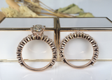 doveggs solid 14k rose gold 2 carat cushion bridal set moissanite ring (size 6.5)
