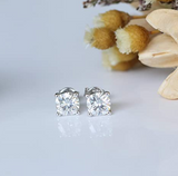 doveggs 2 carat gh color cushion moissanite earring studs sterling silver push back
