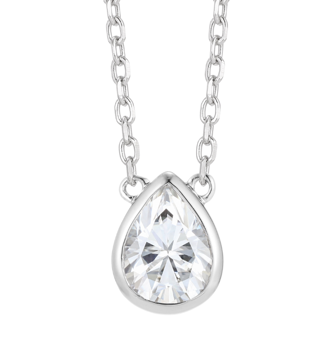 doveggs bezel 1.5 carat gh color moissanite pendant necklace in sterling silver