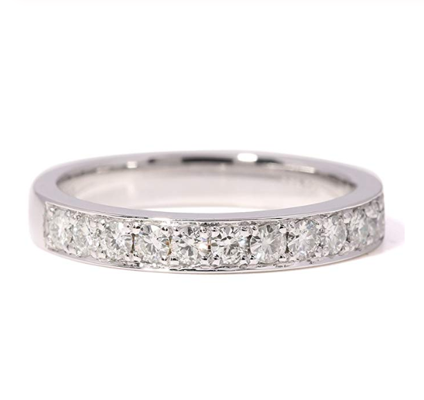 channel set moissanite wedding band
