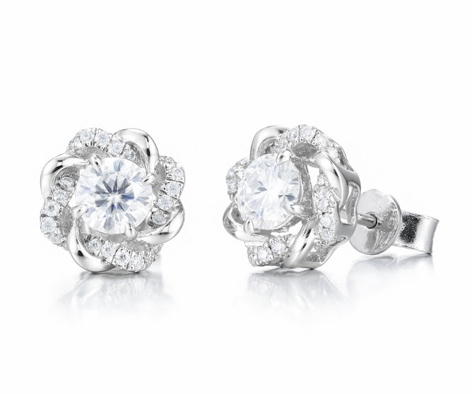 studs push back round moissanite earrings
