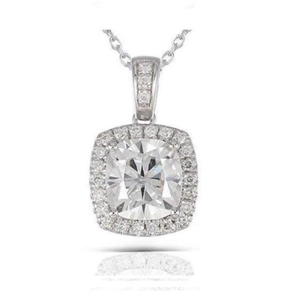 doveggs moissanite platinum plated silver 2 carat halo cushion moissanite pendant necklace