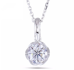 doveggs 1 carat round flower shape moissanite pendant necklace for women