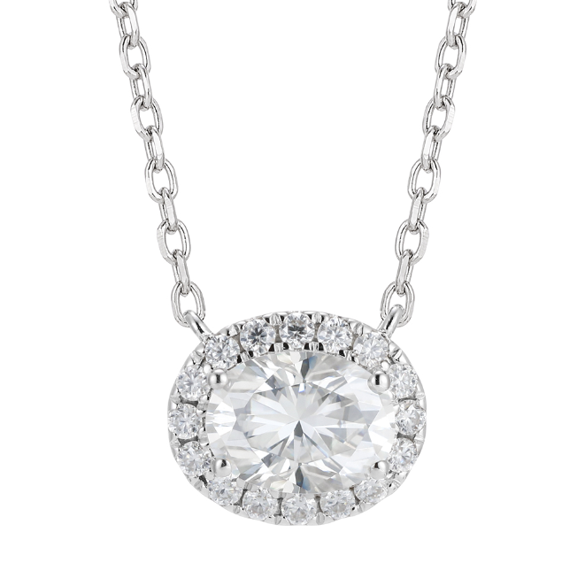 doveggs sterling silver 1.5 carat halo oval moissanite pendant necklace