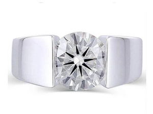 doveggs sterling silver 3 carat ghi color round moissanite ring