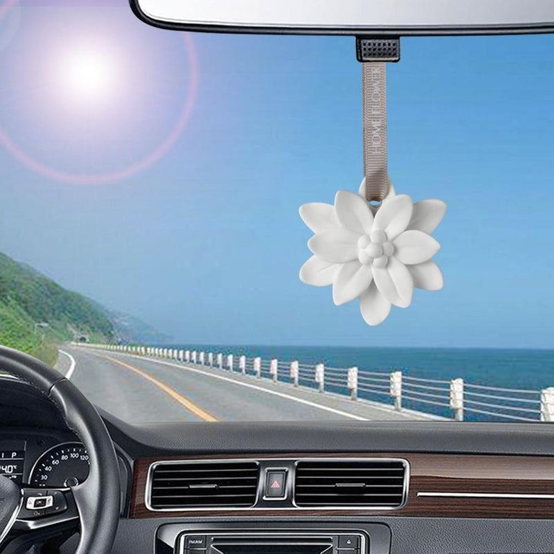 Car Pendant Plaster Flower Fragrance Auto Decorations Solid Air Freshener Automobiles Interior Rearview Mirror Ornaments Perfume