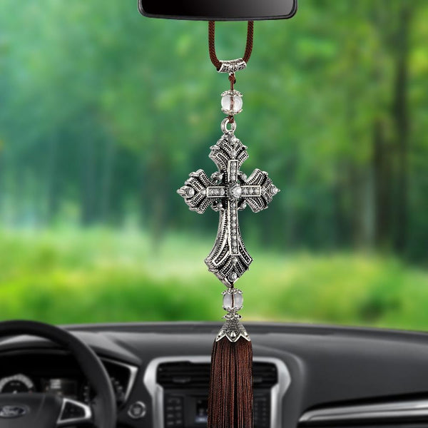 Metal And Crystal Diamond Cross Jesus Christian Car Rear View Mirror Car Pendant Hanging Car Styling Accessories Auto Decoration