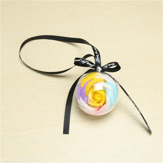 Car Pendant Everlasting Rose Hanging Ornaments Automobiles Rearview Mirror Suspension Soap Flower Decoration Car Accessories