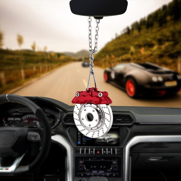Hip-hop Car Pendant Ornaments Metal Brake Disc Hanging Auto Interior Rear View Mirror Decoration Dangle Trim Accessory Styling