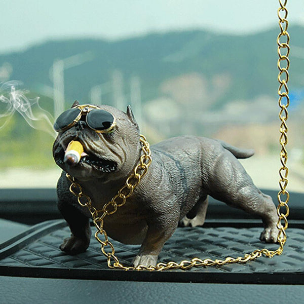Cool Bully Pitbull Simulated Car Dog Dolls Ornaments Pendant Automobiles Interior Decoration Ornaments Toys Gift Car Accessories