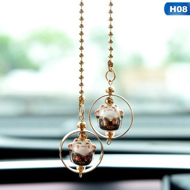 Car Pendant Ceramics Lucky Cat Car Rearview Mirror Decoration Ceramics Alloy Hanging Ornament Automobile Dashboard Accessories