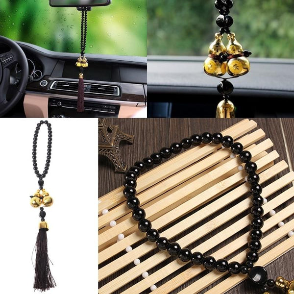 QILEJVS Gold Plated Double Gourd Amulet Gift Pendant Car Rear View Mirror Decor