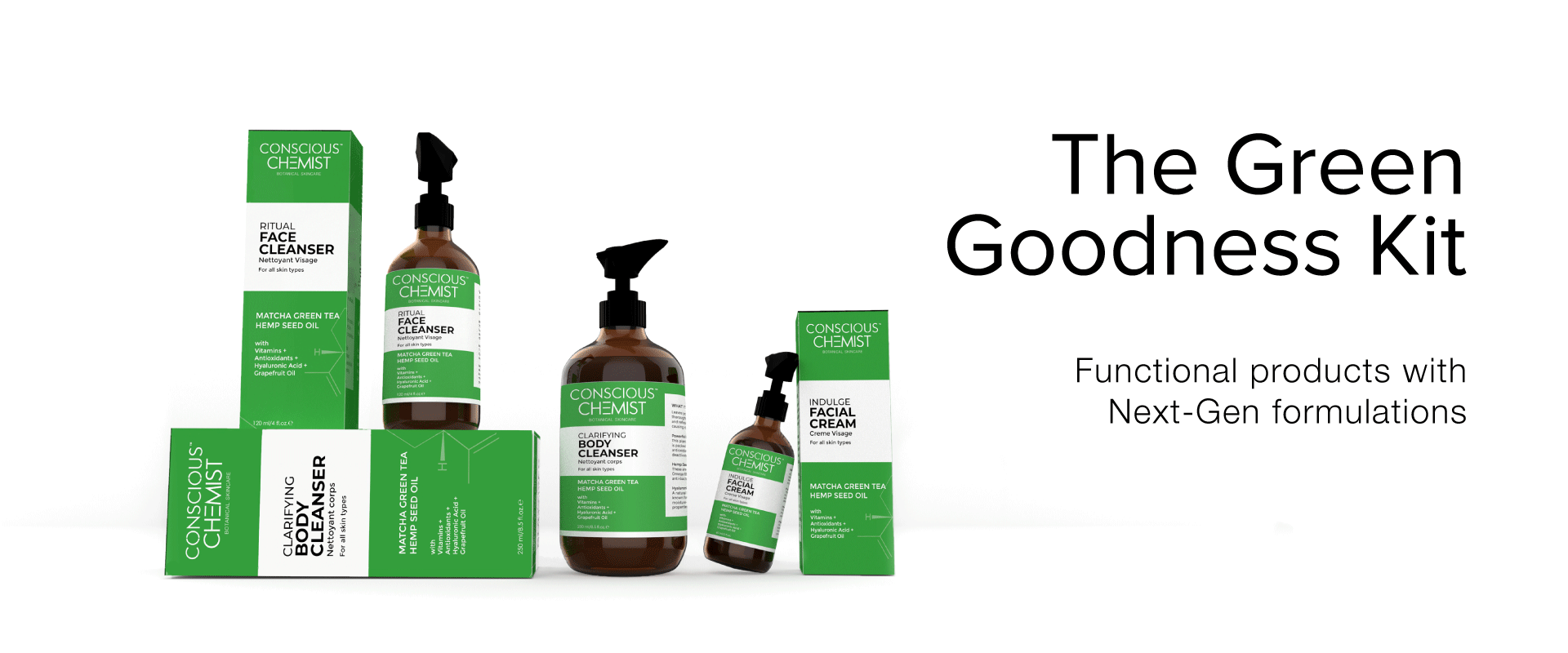 The green goodness kit is the ultimate beauty regime conatining Next-Gen ingredients and formulations