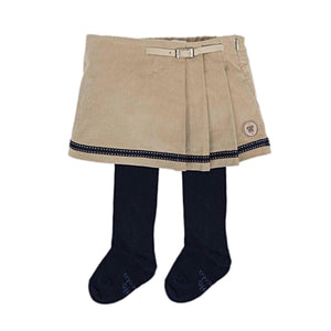 Camel Corduroyed Skirt and Tights - Petit Maison Kids