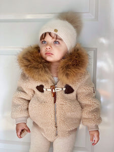 Shearling Camel Bomber Coat Faux Fur