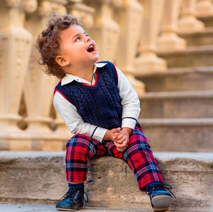 Red Plaid Pants - Petit Maison Kids