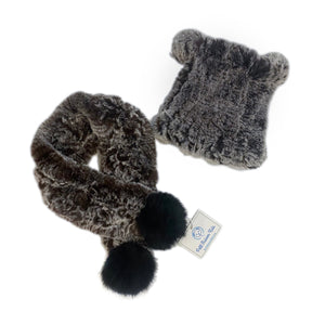 Fuzzy Brown Hat and Scarf Set - Petit Maison Kids