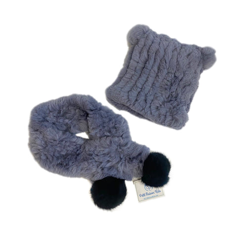 Fuzzy Bluish Grey Hat and Scarf Set - Petit Maison Kids