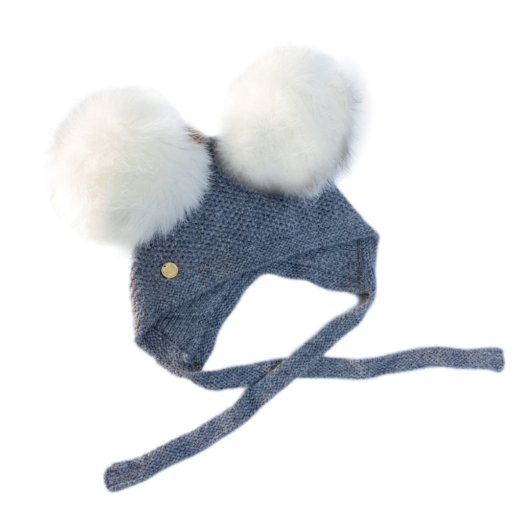 Honeycomb Grey Faux Fur Bonnet
