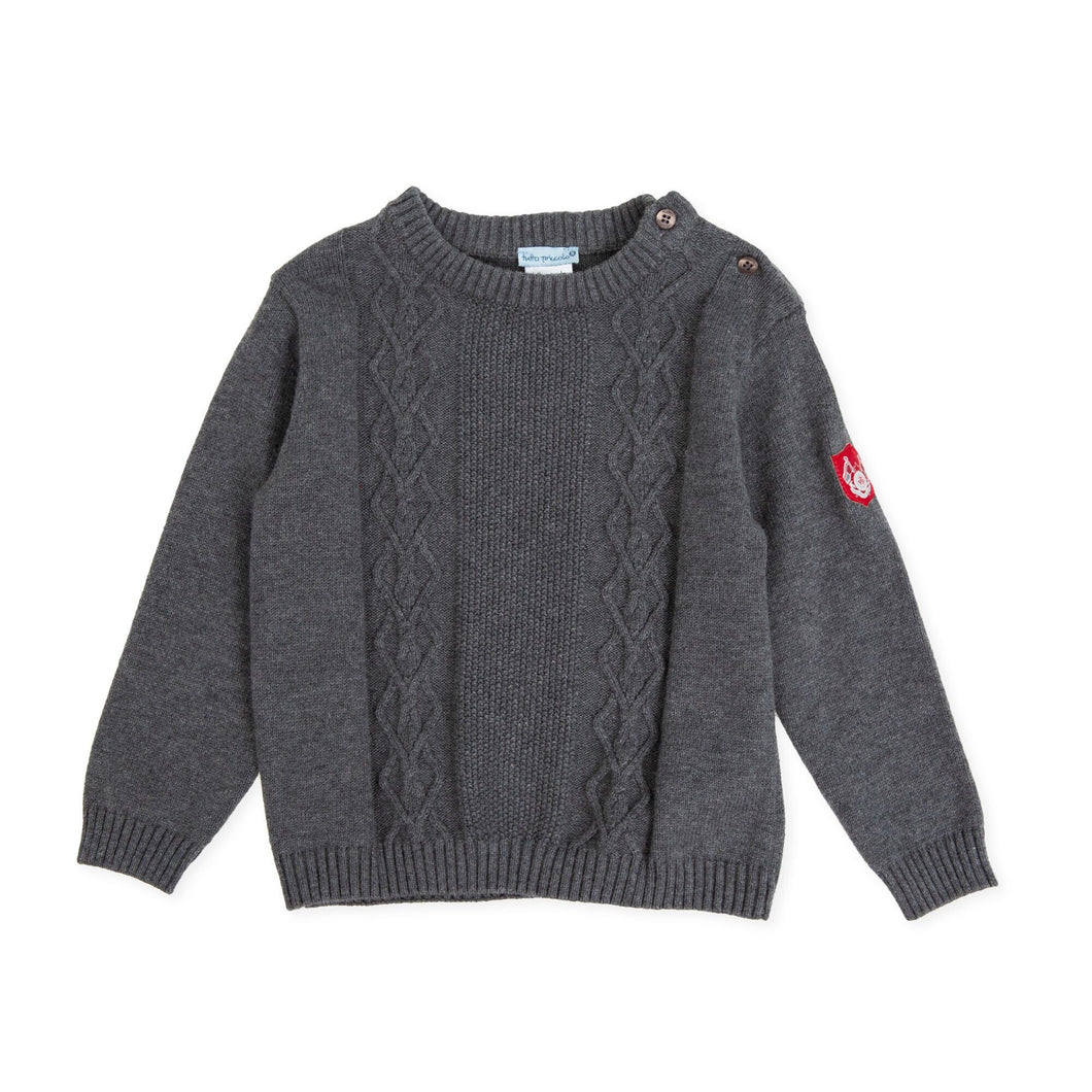 Grey Tricot Pattern Sweater - Petit Maison Kids