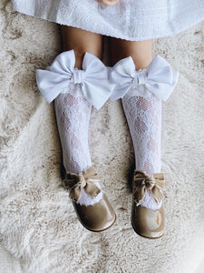 Lola Lace Socks with Satin Bows - Petit Maison Kids