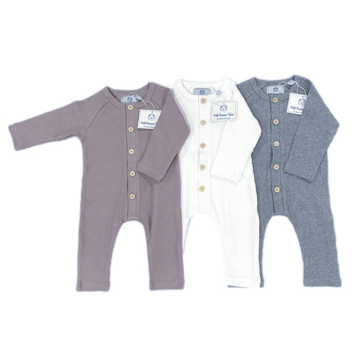 Ribbed Cotton Playsuit - Petit Maison Kids