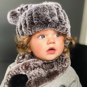 Brown Fuzzy Hat and Scarf Set