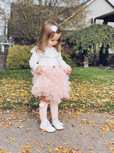 Pink and Peach Knee High Socks with Poms - Petit Maison Kids