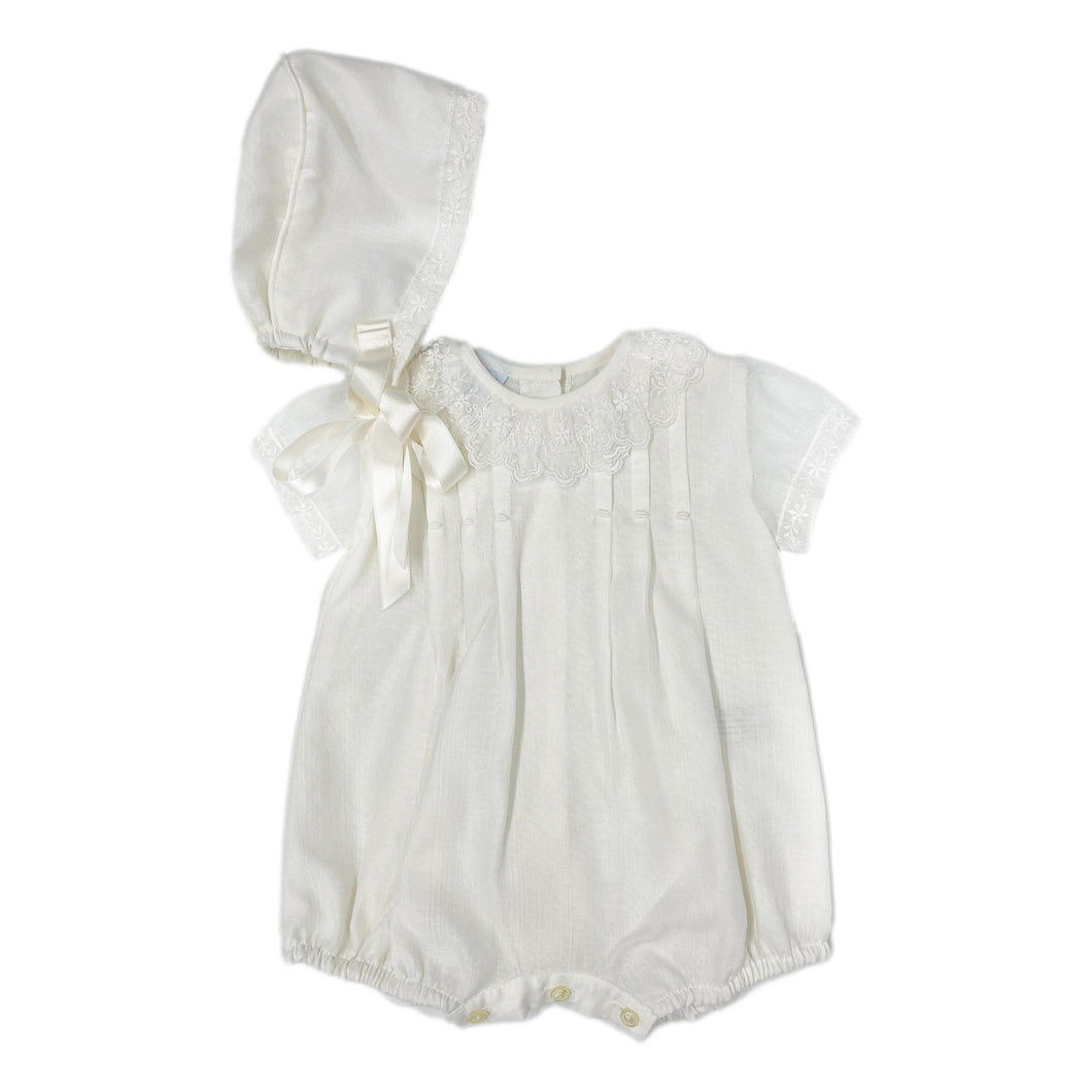 George Ceremony Christening Romper and Bonnet Set