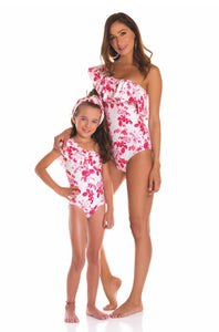 Red Flowers Mom Swimsuit - Petit Maison Kids