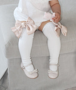 Abigail Satin Bow Socks - Petit Maison Kids