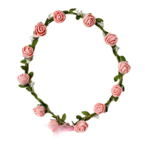 Pink Flower Hair Wreath