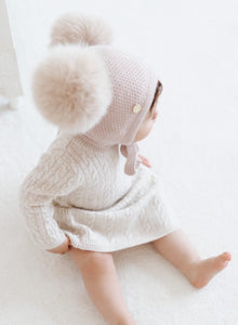 Honeycomb Dusty Pink Faux Fur Bonnet