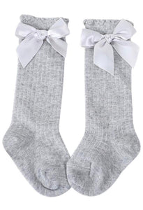 Ribbed Knee High Socks With Bows - Petit Maison Kids