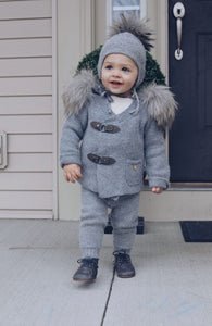 Cashmere Pram Coat with Grey Trim - Petit Maison Kids