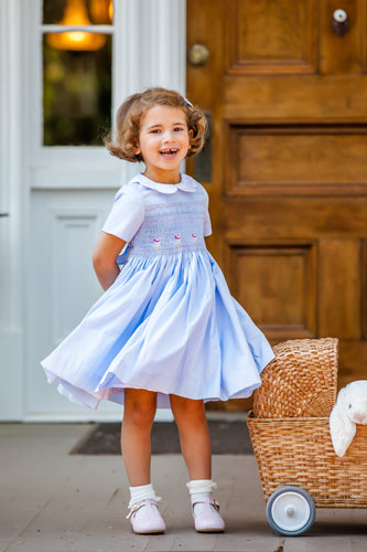 Augustine Powder Blue Dress - Petit Maison Kids
