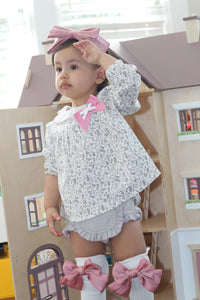 Beige Floral Print Cotton Top and Shorts Set