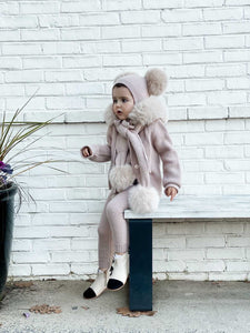 Dusty Pink Cashmere Pram Coat with Faux Fur