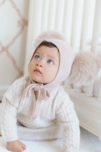 Dusty Pink Cashmere Double Pom Hat - Petit Maison Kids