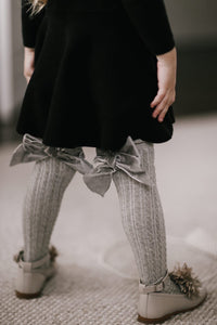 Grey Knee High Socks with Velvet Bows