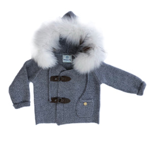 Cashmere Pram Coat with White Trim - Petit Maison Kids