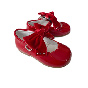 Red Patent Mary Janes with Velvet Bow