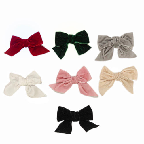 Velvet Bow Hair Clips - Petit Maison Kids