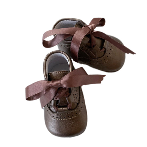 Metallic Brown Calfskin Leather Prewalkers - Petit Maison Kids